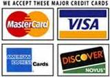 We Accept All 4 Major Credit Cards